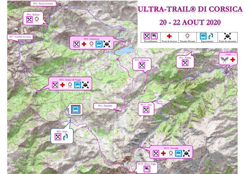 Carte Ultra-Trail di Corsica en Relais