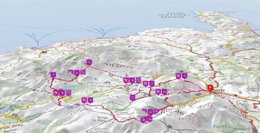 Carte en 3D Ultra-Trail di Corsica